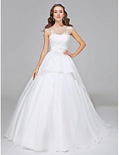 Lanting Bride® Ball Gown Plus Sizes Wedding Dress - Elegant & Luxurious Open Back Court Train Jewel Organza / Tulle withAppliques /