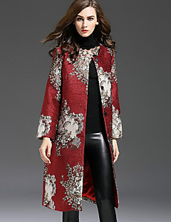 1898 Women's Casual/Daily Chinoiserie Trench CoatEmbroidered Round Neck Long Sleeve Fall / Winter Red Polyester Medium