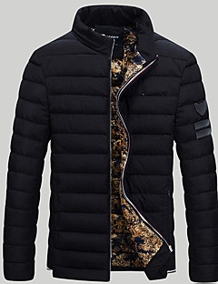 Men's Padded Coat,Street chic Plus Size Solid-Polyester Polypropylene Long Sleeve Stand Blue / Red / Black / Gray