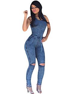 Women's Denim Sexy Slim Bodycon Knee Slit Jeans Jumpsuit