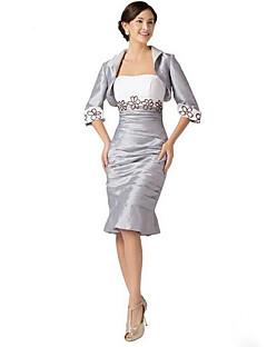 Tubinho Vestido Para Mãe dos Noivos Até os Joelhos Manga Curta Tafetá - Bordado