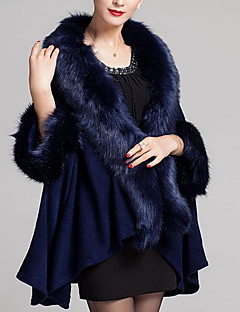 Women's Casual/Daily Simple Cloak/Capes,Solid / Print V Neck ¾ Sleeve Fall / Winter Blue / Red / Black / Brown / Purple Wool / Faux Fur