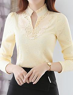 Tee-shirt Femme,Couleur Pleine Sortie simple Automne / Hiver Manches Longues Mao Blanc / Noir / Jaune Polyester Moyen