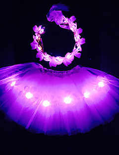 Pinky Angel Led Light Up Tutu &Headband Set For KidsGirlsAdultsHalloween CoustumeChristmas GiftRave Tutu SetCoachella