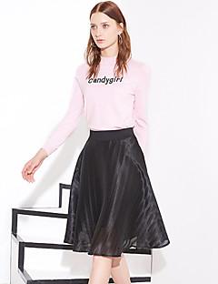 Damer Enkel Knælængde Nederdele A-linje Tyl,Ensfarvet