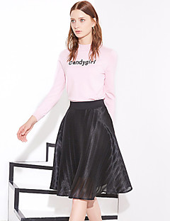 Damen Einfach Knielänge Röcke A-Linie,Tüll einfarbig