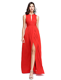 TS Couture® Formal Evening Dress - Furcal Sheath / Column Notched Floor-length Jersey with Sash / Ribbon / Split Front / Criss Cross