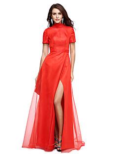 Ts couture שמלת ערב רשמית - סלבריטי בסגנון a-line צוואר גבוה באורך אורגנזה אורך עם חזית מפוצלת