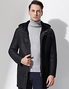 Hætte Langærmet Tyk Herre Sort Ensfarvet Vinter Simpel Casual/hverdag Pelsfrakke,Polyester
