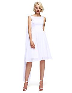 באורך  הברך שיפון שמלה לשושבינה - גזרת A עם תכשיטים עם תד נשפך