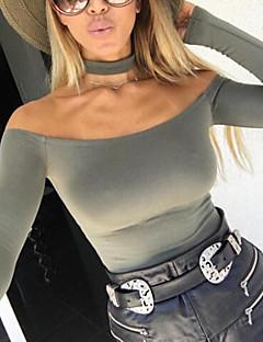 Feminino Padrão Carregam,Casual Sensual Sólido Preto Ombro a Ombro Manga Longa Elastano Inverno Média Micro-Elástica