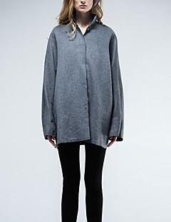 Damen Solide Einfach Lässig/Alltäglich Mantel,Herbst / Winter Ständer Langarm Grau Mittel Wolle