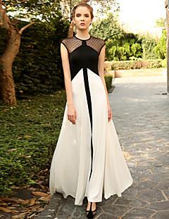 Dame Vintage I-byen-tøj Swing Kjole Prikker / Farveblok,Rund hals Maxi Uden ærmer Hvid Modal Sommer Højtaljede Elastisk Medium
