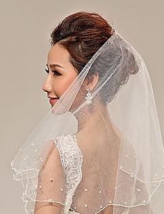 웨딩 면사포 두층 손가락 베일 진주 트림 가장자리 명주그물