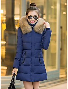 ארוך מעיל פוך מעיל נשים,אחיד פשוטה יום יומי\קז'ואל פוליאסטר נוצות ברווז לבנות-שרוול ארוך כחול / ירוק