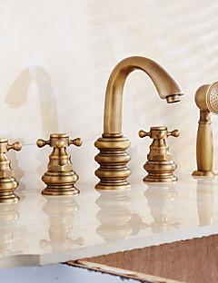 handshowerは、セラミックバルブと二つのハンドルアンティーク真鍮、シャワーの蛇口/浴槽の蛇口のための2つの穴を含ま