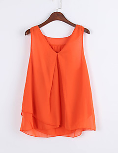 Women's Casual/Daily Simple Summer Tank Top,Solid V Neck Sleeveless Blue / Pink / Black / Green / Orange Polyester Thin