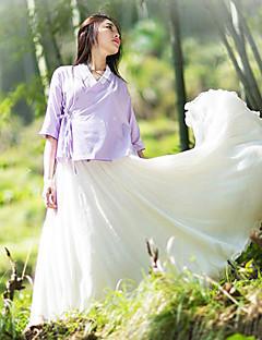 Damen Solide Chinoiserie Lässig/Alltäglich Hemd,V-Ausschnitt Frühling Kurzarm Lila Leinen Dünn