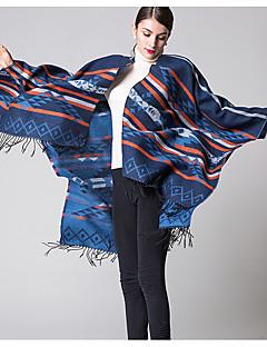 Vintage Acrylique Femme Écharpe,Mosaïque Rectangle,Rouge / Noir / Bleu / Violet