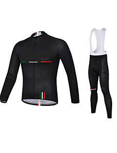 Esportivo Camisa com Calça Bretelle Homens Manga Comprida Moto Respirável / Secagem Rápida / Design Anatômico / Zíper Frontal / Tapete 3D