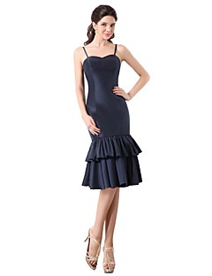 Knee-length Taffeta Elegant Bridesmaid Dress - Sheath / Column Spaghetti Straps with Cascading Ruffles