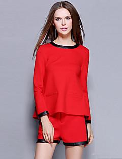 Dames Vintage / Eenvoudig Herfst / Winter T-shirt Pantalon Suits,Uitgaan / Casual/Dagelijks Effen Ronde hals Lange mouw Rood Katoen Medium
