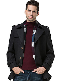 Men's Plus Size Vintage CoatSolid Notch Lapel Long Sleeve Fall / Winter Blue / Black Wool / Cotton / Polyester Thick