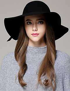Women autumn and winter England Casual Pure Color Dome woolen bow Big brim hat