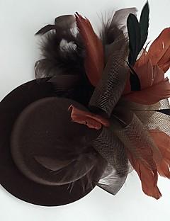 Mulheres Penas Tecido Rede Capacete-Casamento Ocasião Especial Casual Fascinador Chapéus 1 Peça