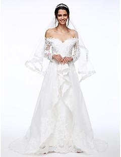 Lanting Bride® Corte en A Vestido de Boda Larga Hombros al Aire Encaje / Organza con Cuentas / Flor / Apliques