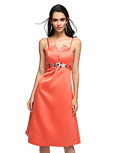 Cocktail Party Dress Sheath / Column Spaghetti Straps Tea-length Satin with Crystal Detailing / Draping / Sash / Ribbon