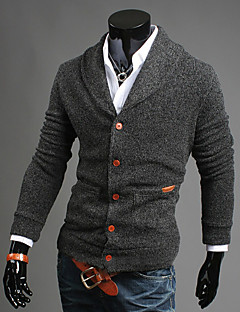 Men's Going out Casual/Daily Simple Street chic Regular Cardigan,Solid Blue Black Gray V Neck Long Sleeve Cotton Fall Winter Medium