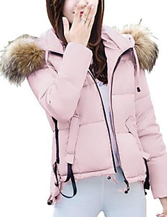 Women's Short Padded CoatSimple / Street chic Going out Solid Slim Warm Long Sleeve Hooded