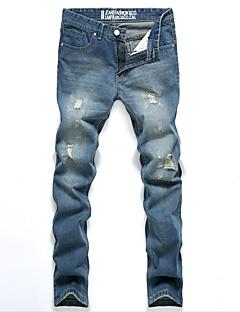 Mulheres Calças Simples Jeans / Chinos Algodão Com Stretch Mulheres