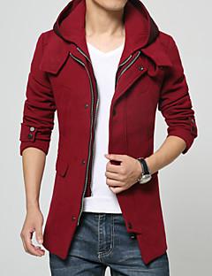 Ull Sort Medium Langermet,Skjortekrage Trenchcoat Ensfarget Vintage / Gatemote Ut på byen-Alle sesonger Herre