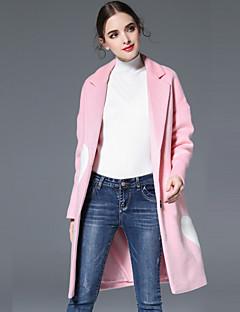 Casual/hétköznapi Egyszerű Őszi / Téli-Női Kabát,Egyszínű Hasított rever Hosszú ujj Rózsaszín / Piros Gyapjú
