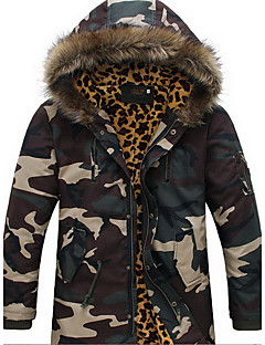 Men's Regular Padded Coat,Simple Going out / Casual/Daily Camouflage-Nylon Cotton Long Sleeve Hooded Green