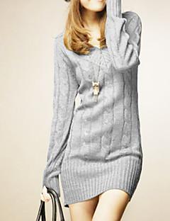 Damen Lang Extra lang Solide Beige Grau Grün V-Ausschnitt Langarm Winter Mittel Mikro-elastisch
