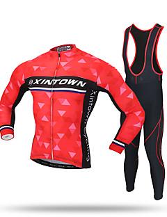 XINTOWN® חולצת ג'רסי וטייץ ביב לרכיבה לגברים שרוול ארוך אופנייםשמור על חום הגוף / עמיד / חדירות ללחות / רוכסן קדמי / תומך זיעה / חיכוך