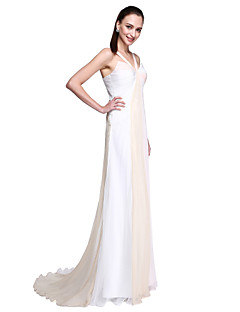 TS Couture Formal Evening Dress - Celebrity Style Ivanka Style A-line Straps Sweep / Brush Train Chiffon with Side Draping