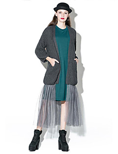 Damen Lang Strickjacke-Übergröße Street Schick Solide Rot Schwarz Grau V-Ausschnitt ¾-Arm Baumwolle Polyester Frühling Herbst Mittel