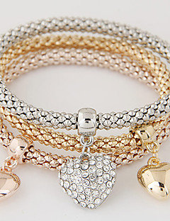 Dame Vedhend Armband Kjærlighed Luksus Smykker Europeisk kostyme smykker Enkel Stil Mote Multi Layer Strass Fuskediamant Legering Hjerte
