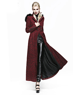 Dames Vintage / Punk & Gothic Winter Jas,Uitgaan / Casual/Dagelijks / Vakantie Capuchon-Lange mouw Rood Effen Medium Wol / Polyester