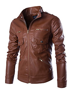 Men's Casual/Daily Simple Leather Jackets,Solid Stand Long Sleeve Spring / Fall Black / Brown Cowhide Medium