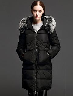 Damen Daunen Mantel,Lang Einfach Lässig/Alltäglich Solide-Polyester Weiße Entendaunen Langarm Blau / Schwarz Mit Kapuze