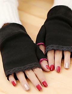 женщин простой кружева трикотаж длина запястья половину пальца мило / партии / вскользь перчатки зимы