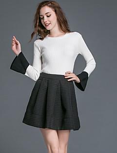 Kadın Polyester Uzun Kollu Yuvarlak Yaka Sonbahar Solid Sade Günlük/Sade Beyaz-Kadın Etek Suit
