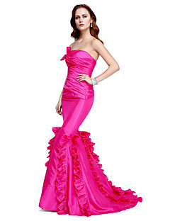 TS Couture ערב רישמי שמלה - סגנון של מפורסמים בתולת ים \ חצוצרה סטרפלס עד הריצפה טפטה עם בד נשפך בצד