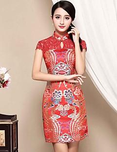 Damen Hülle Kleid-Lässig/Alltäglich Chinoiserie Stickerei Ständer Übers Knie Kurzarm Rot Polyester Herbst Mittlere Hüfthöhe