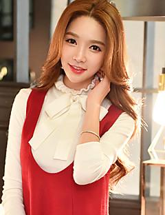Damen Standard Pullover-Ausgehen Lässig/Alltäglich Formal Retro Niedlich Anspruchsvoll Solide Weiß Rollkragen Langarm Acryl Polyester